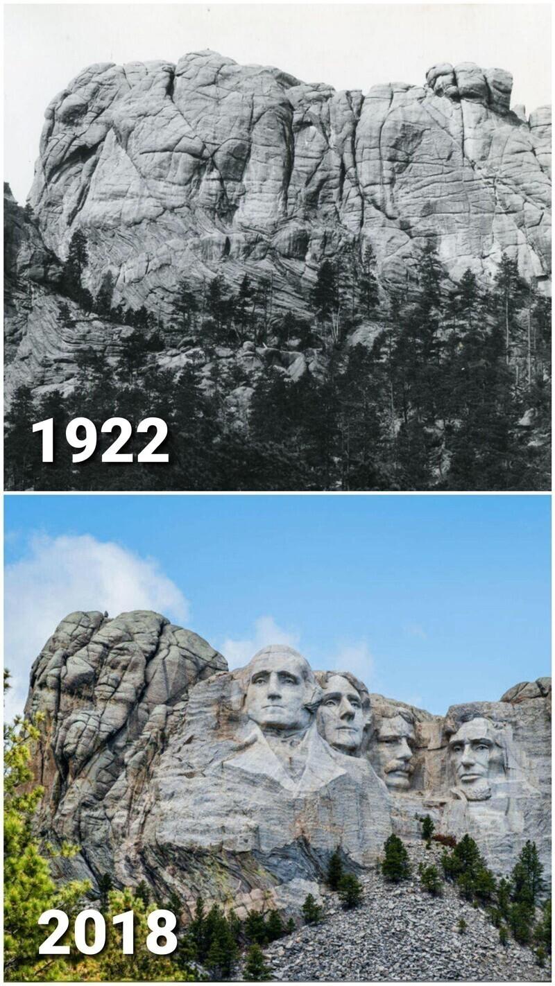 Гора Рашмор в 1922 году и в 2018 году