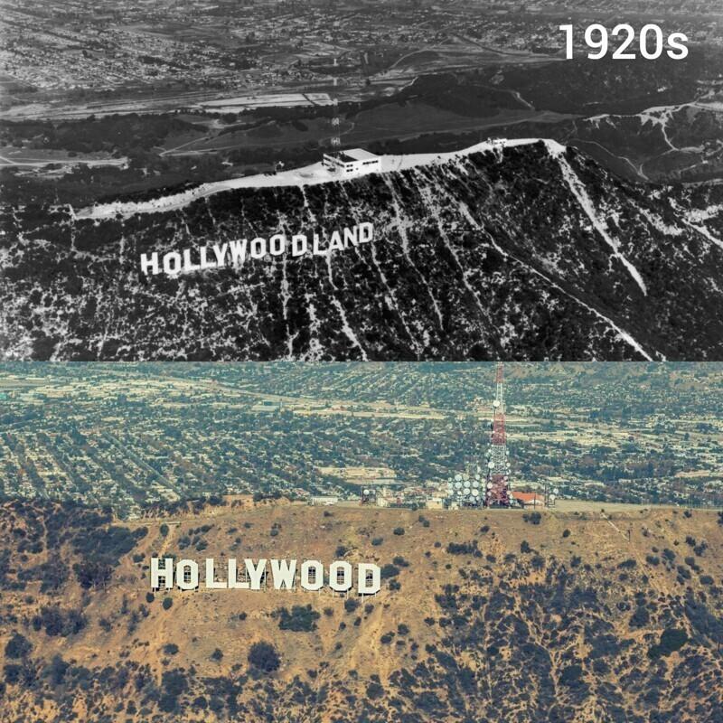 """19. Надпись """"Голливуд"""" в 1920-е и сейчас"""
