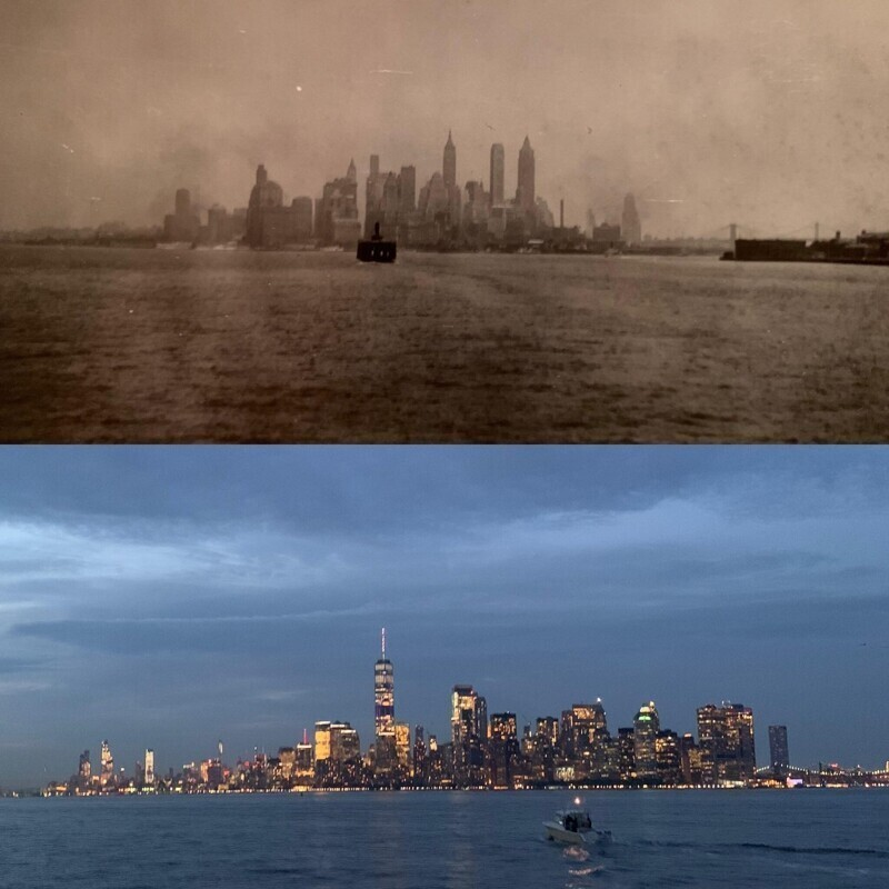 Гавань Нью-Йорка в 1937 году и в 2019 году