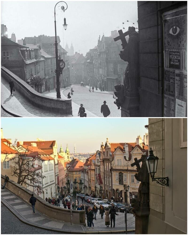 Прага в 1910-м и в 2020-м