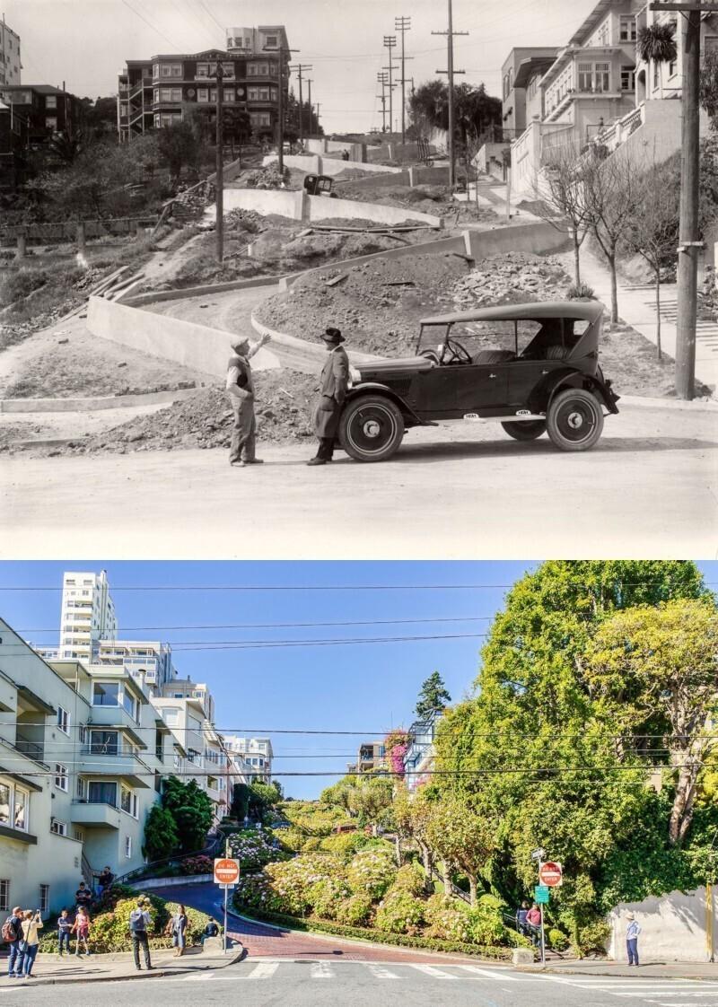 Ломбард-стрит, Сан-Франциско, в 1922 году и в 2018-м
