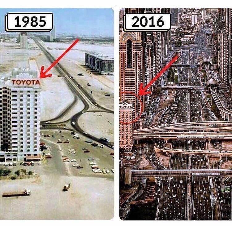 Дубай в 1985 году и в 2016 году