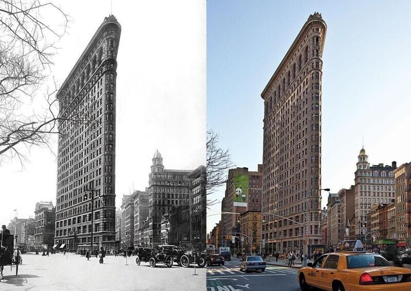 """Флэтайрон-билдинг (""""здание-утюг""""), Манхэттен, Нью-Йорк, в 2017 году и в 2012-м"""