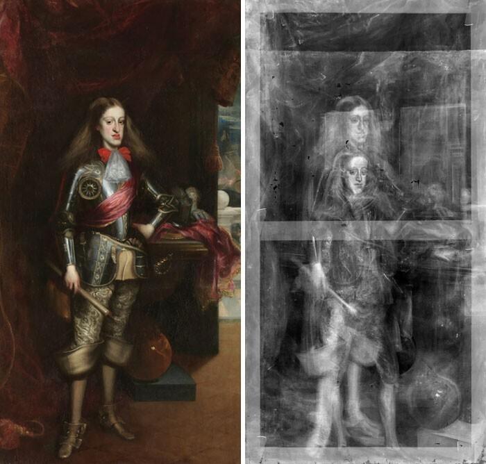 Рентген портрета Карла II Испанского показал, что он написан поверх первой версии, которую ходожник создал, когда король был несколькими годами младше