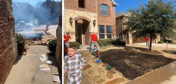 Мальчик случайно поджег газон, играясь с увеличительным стеклом