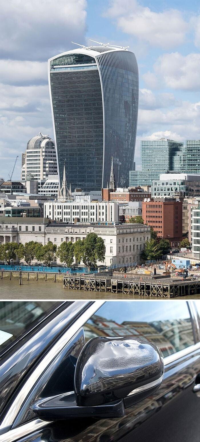 Этот лондонский небоскреб - настоящая линза: от него плавятся стоящие внизу машины