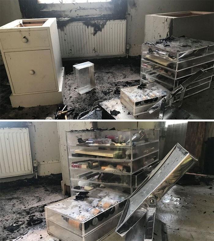 В квартире случился пожар из-за лучей, отражавшихся от большого зеркала в спальне