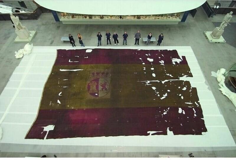 Флаг испанского военного корабля Сан-Ильдефонсо, который участвовал в Трафальгарском сражении