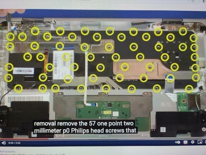 """""""HP решил, что для максимальной стабильности клавиатуры модели X360 необходимо 57 болтов"""""""