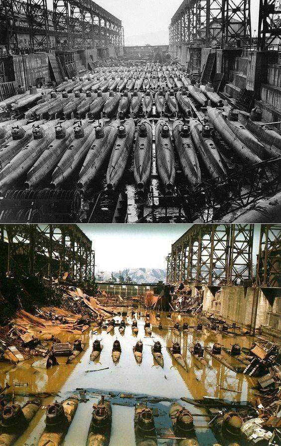 """Миниатюрные подводные лодки """"Корю"""" в сухом доке в Куре, Япония. До и после бомбардировки союзников"""