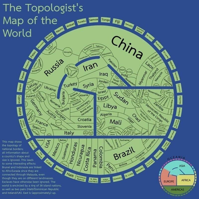 Топологическая карта мира, которая показывает исключительно границы государств