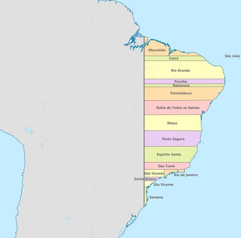 В 1534 году у Бразилии были линейно ровные границы штатов