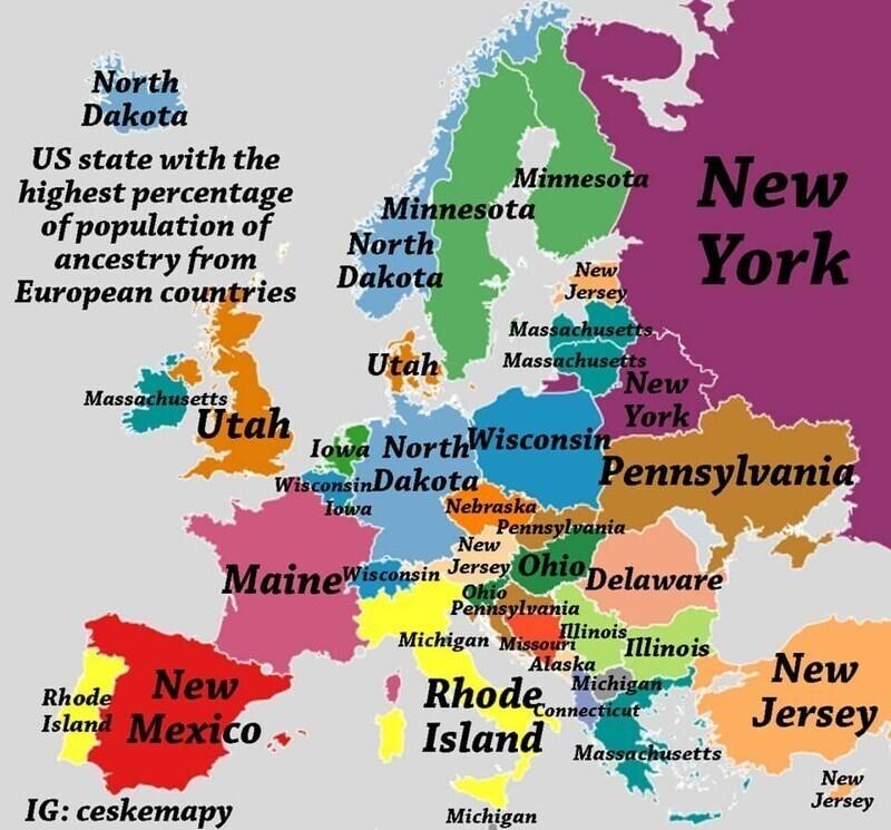 На карте указано, в каких штатах США можно найти наибольший процент выходцев из европейских стран