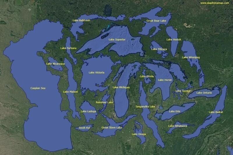 25 самых больших озёр планеты, расположенных рядом для сравнения