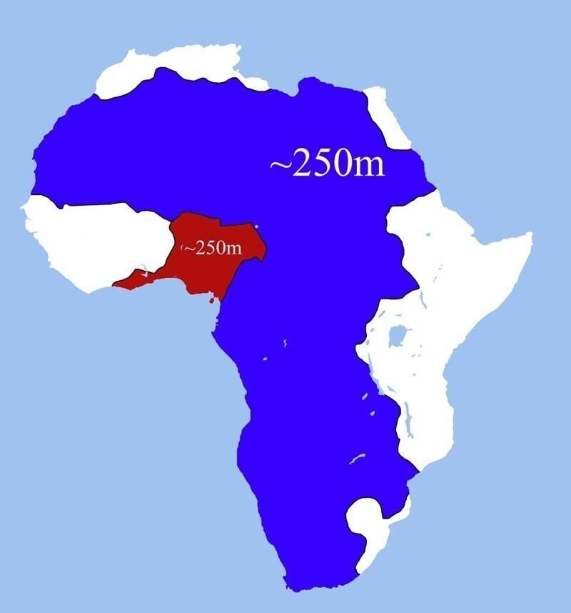 В этих двух частях Африки, выделенных красным и синим, проживает одинаковое количество людей