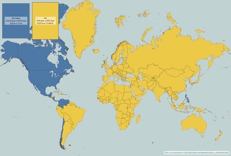 Мировая карта распространения двух основных форматов листов: Letter и А4