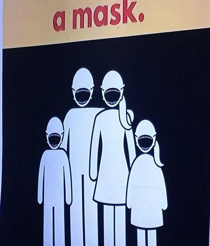 Обыкновенный плакат, призывающий носить медицинские маски