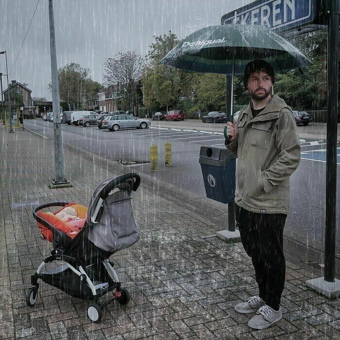 16. Ненавижу дождливые дни. Папа-то подготовился, а я нет