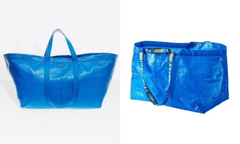 Слева сумка известного модного дома, которая стоит 2000 долларов, а справа сумка из ИКЕА