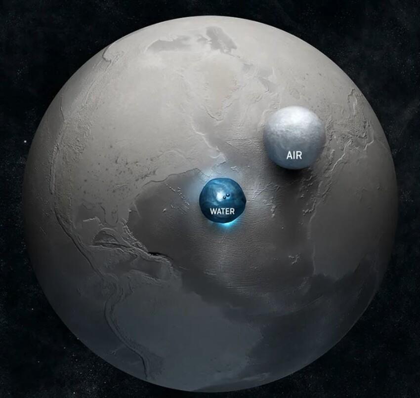На снимке вы можете увидеть объем воздуха и воды в мире, по сравнению с Землей