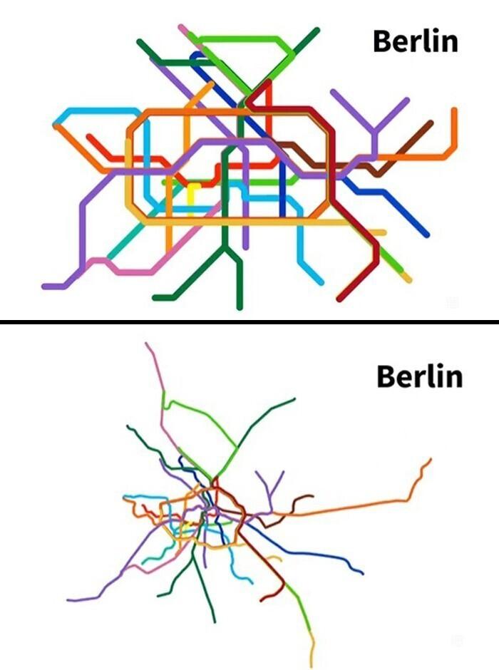 Карта берлинского метро в сравнении с его реальной географией