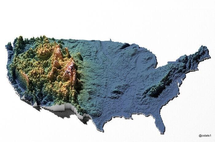 Карта возвышенностей США