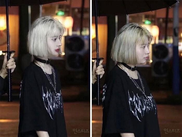 Слева - фото с личнойстраницы китайской поп-звезды, справа - ее снимок без ретуши