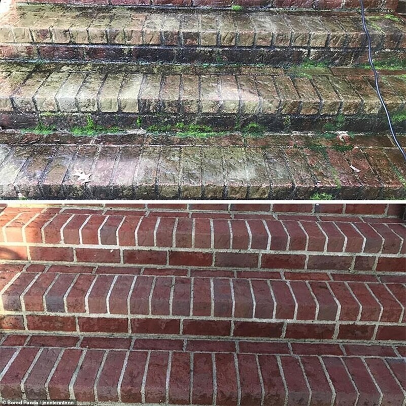 Недомытые ступеньки как будто взяты с другой лестницы