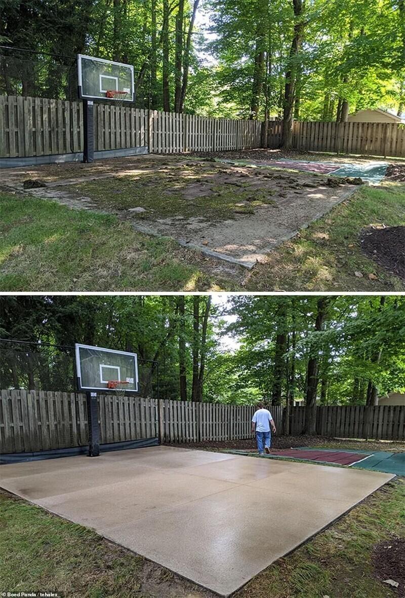 Отмыть до идеальной чистоты баскетбольную площадку после зимы? Легко!