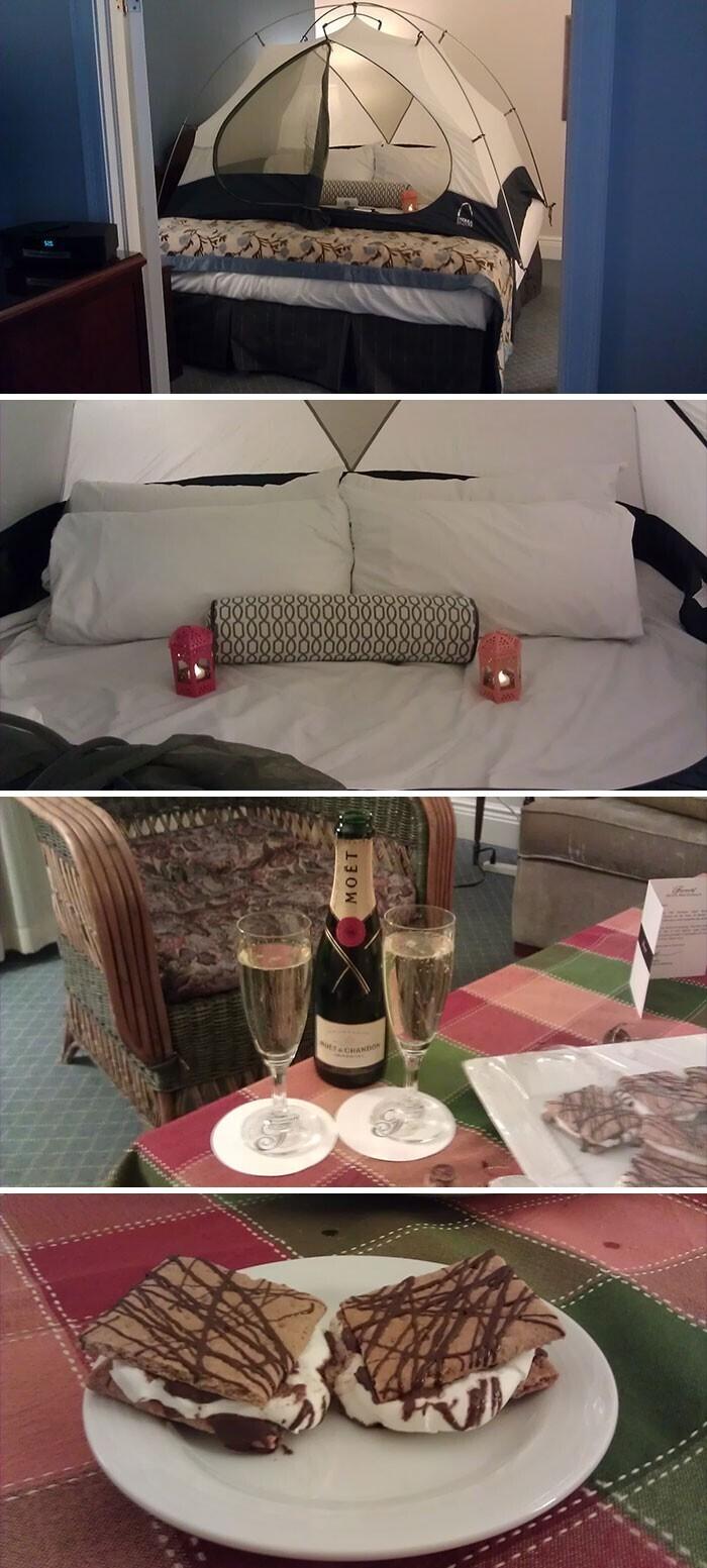 """""""Попросил отель предоставить мне палатку, потому что очень хотел позаниматься кэмпингом в этом году. Думал, что мне просто дадут сложенную палатку, но вот что устроили для меня сотрудники отеля"""""""