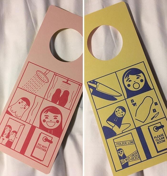 """Забавные таблички на дверь """"Не беспокоить"""" и """"Пожалуйста, сделайте уборку"""""""