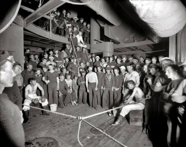 """2. Боксерский матч на борту авианосца """"Орегон"""" в 1897 году"""