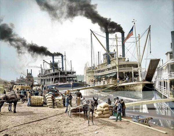 31. Пароходы на реке Миссисипи в 1907 году