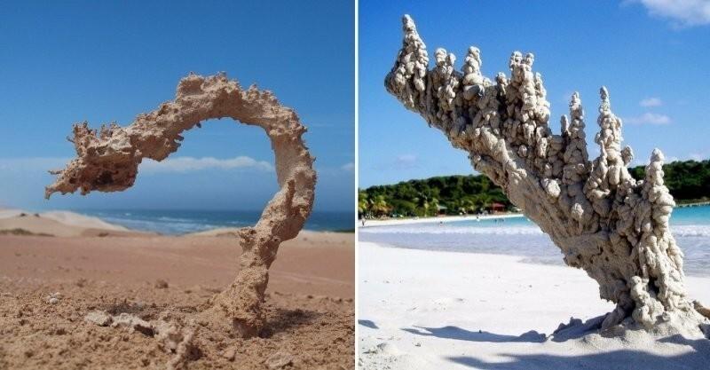 Фульгурит: последствия удара молнии в песок
