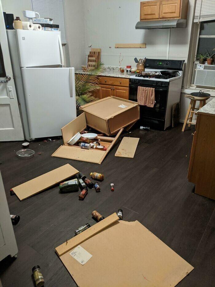 """1. """"Пока меня не было, упал шкафчик на кухне. Вся моя любимая посуда разбита вдребезги. Оно и к лучшему - еды все равно нет: она вся пропала, потому что шкаф в полете открыл дверцу холодильника"""""""
