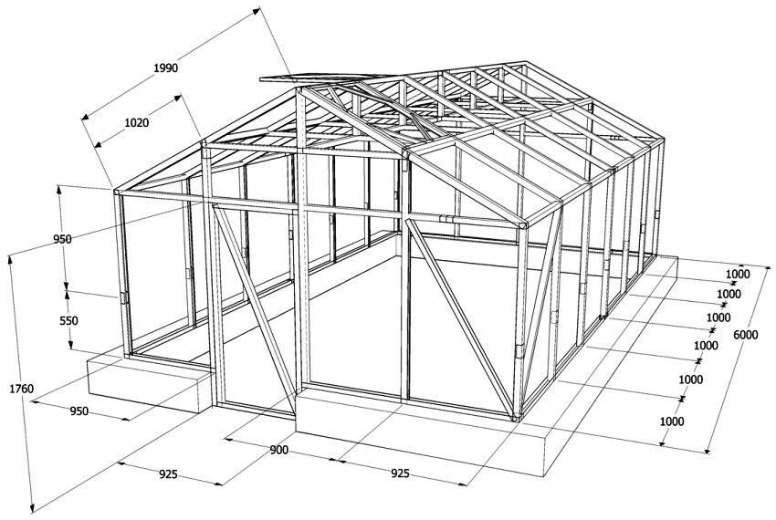 Проект обустройства прямоугольной теплицы из металлопрофиля