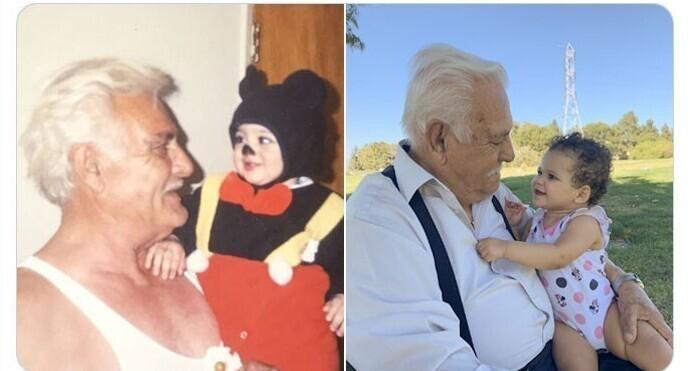 """""""Мой прадедушка со мной  - и мой прадедушка с моей дочкой 20 лет спустя"""""""