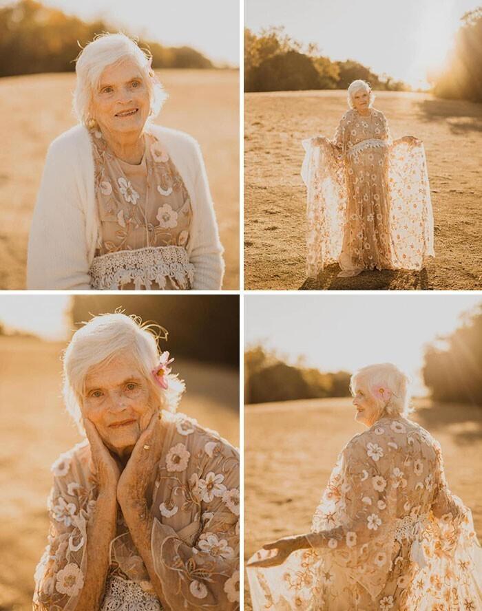 """""""Клиентка в последний момент отказалась от платья, и я предложила 87-летней бабушке мужа провести в нем фотосессию в ее день рождения. Я уложила ей волосы и сделала макияж, и она была счастлива!"""""""