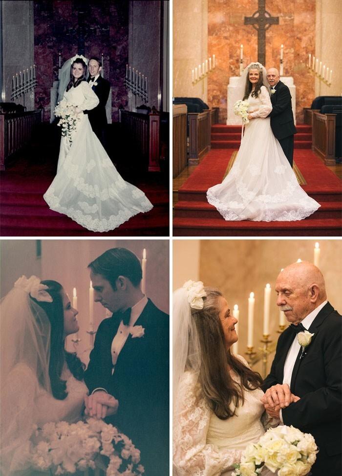 40. Пара воссоздала свои свадебные фото после 50 лет брака