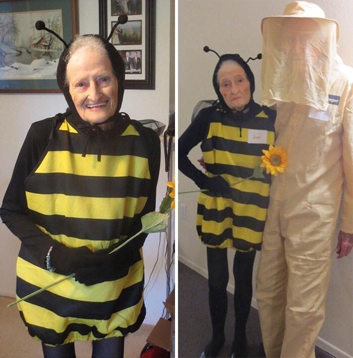 """31. """"Перечитываю этот отзыв с Amazon, просто чтобы улыбнуться. 88-летняя женщина и ее 92-летний муж ходили на вечеринку в честь Хэллоуина. Костюм пчелки им понравился"""""""