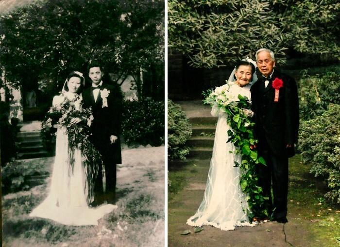 35. 98-летние супруги воспроизвели свой свадебный портрет 70 лет спустя