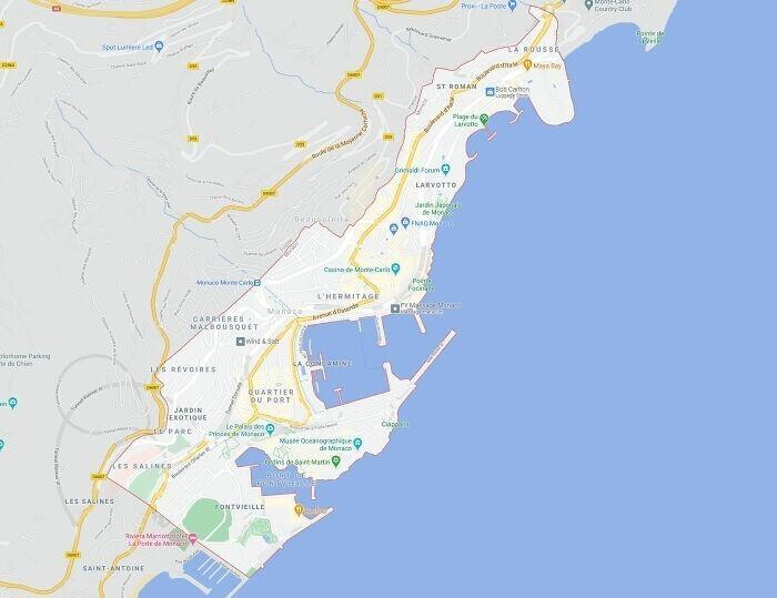 12. Монако можно пересечь с севера на юг примерно за час