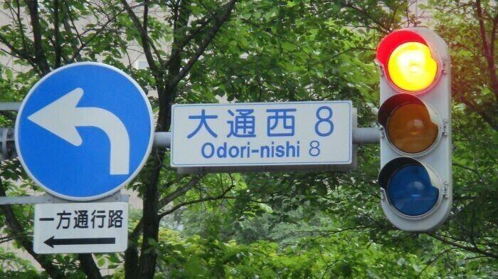 1. В Японии зеленый фонарь светофора выглядит синим