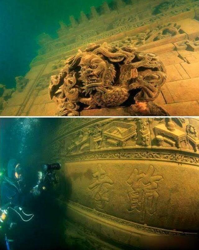"""Китайский затопленный город Ши Чэн (""""Город Льва""""), расположенный на глубине 40 метров под озером Цяньдао. Построен во времена династии Восточная Хань (25-200 гг. н. э.),"""