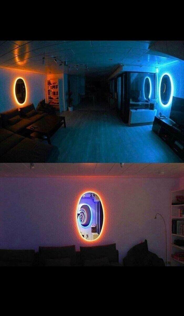 Как с помощью двух зеркал с подсветкой открыть в обычной квартире выход в иные миры