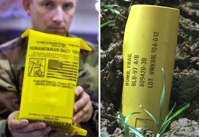 17. Такие посылки с гуманитарной помощью и кассетные бомбы сбрасывали на Афганистан в 2001 году. Одновременно