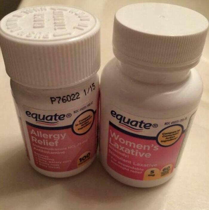 22. Слева средство от аллергии, справа - слабительное...А что из этого ты выпил, узнаешь по пути на работу.