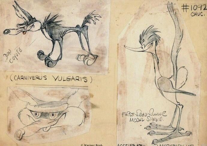 """Первые наброски персонажей мультфильма """"Хитрый койот и Дорожный бегун"""" от Чака Джонса, 1945"""