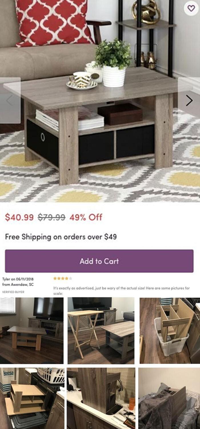 """26. """"Выбирала онлайн кофейный столик и наткнулась вот на такой отзыв с фотографиями. Хороший столик, но обратите внимание на реальный его размер!"""""""