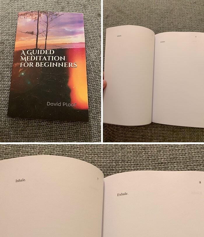 """2. """"Я заказала книгу по медитации на Amazon, и на каждой странице там просто написано """"Вдох"""" и """"Выдох"""""""